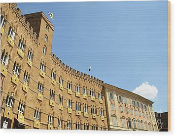 Flags On Building On Piazza Del Campo Wood Print by Sami Sarkis