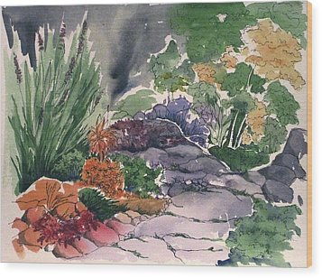 Flagstone Path Wood Print by Renee Goularte