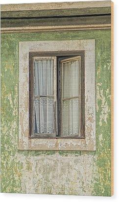 Flaking Wood Window Wood Print