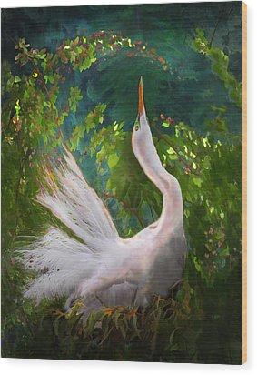 Flamboyant Egret Wood Print by Melinda Hughes-Berland