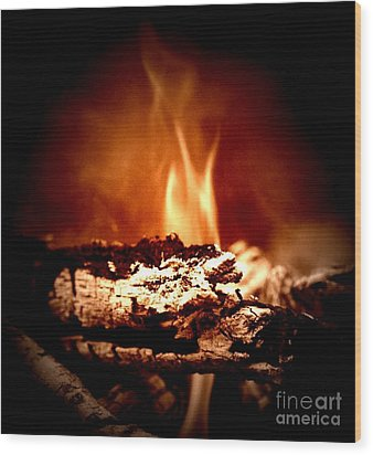 Wood Print featuring the photograph Flame by Denise Tomasura