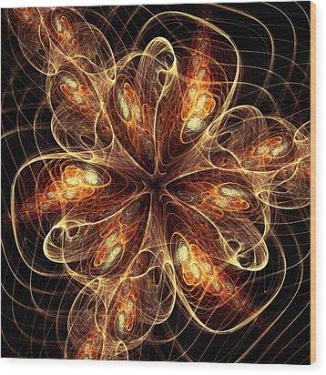 Flame Flower Wood Print by Anastasiya Malakhova