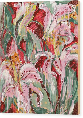 Flame Lilies Wood Print by Carole Goldman