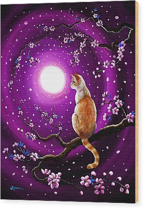Flame Point Siamese Cat In Dancing Cherry Blossoms Wood Print by Laura Iverson