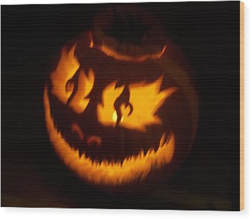 Flame Pumpkin Side Wood Print by Shawn Dall