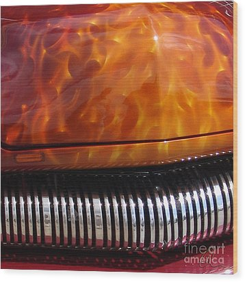 Flame Rod 1 Squared Wood Print by Chris Thomas