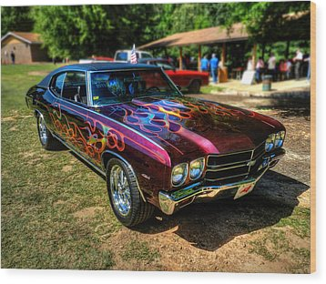 Flamed '70 Chevy Malibu 001 Wood Print by Lance Vaughn