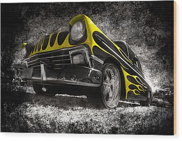 Flamed Chevrolet Bel Air Wood Print by motography aka Phil Clark