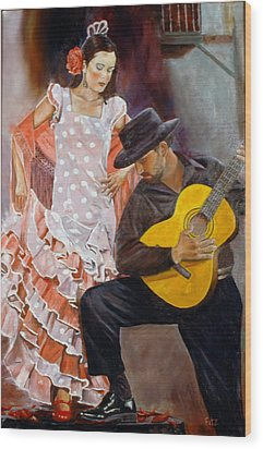Wood Print featuring the painting Flamenco Charm by Rick Fitzsimons