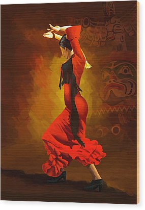 Flamenco Dancer 0013 Wood Print by Catf