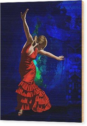 Flamenco Dancer 014 Wood Print by Catf