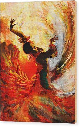 Flamenco Dancer 021 Wood Print