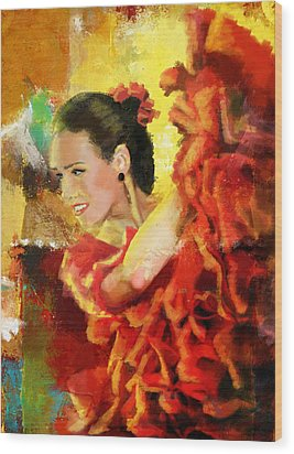 Flamenco Dancer 027 Wood Print by Catf