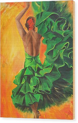 Wood Print featuring the painting Flamenco Dancer In Green Dress by Sheri  Chakamian