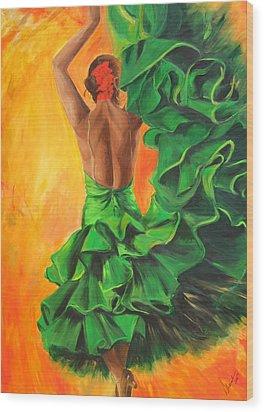 Flamenco Dancer In Green Dress Wood Print
