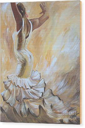 Wood Print featuring the painting Flamenco Dancer In White Dress by Sheri  Chakamian