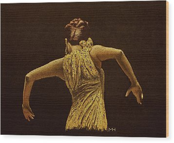 Flamenco Dancer In Yellow Dress Wood Print by Martin Howard