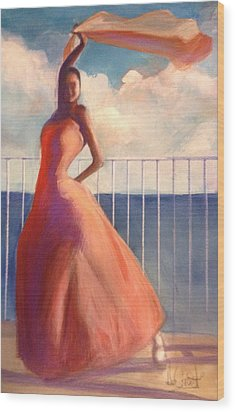 Flamenco Dancer Waving Scarf Wood Print by Gregory DeGroat