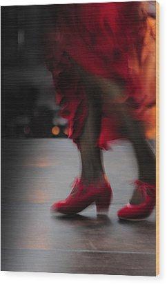 Flamenco Fire Wood Print by Tetyana Kokhanets