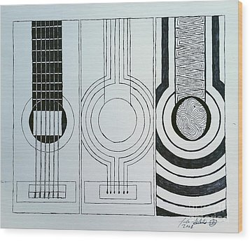 Flamenco Guitar Wood Print by Luke Galutia