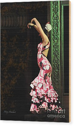 Flamenco Series #8 Wood Print by Mary Machare