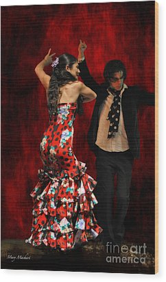 Flamenco Series #9 Wood Print by Mary Machare