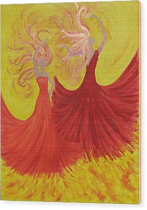 Wood Print featuring the painting Flamenco by Stephanie Grant