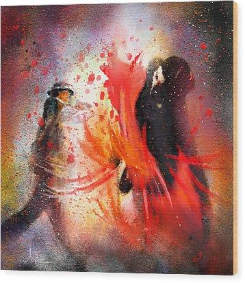 Flamencoscape 07 Wood Print by Miki De Goodaboom
