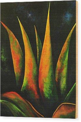Flaming Aloe Wood Print by Migdalia Bahamundi