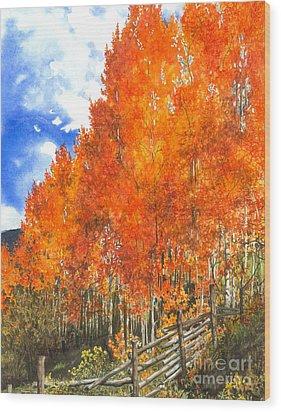 Flaming Aspens Wood Print by Barbara Jewell