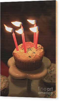 Flaming Birthday Cupcake Closeup Wood Print by Robert D  Brozek