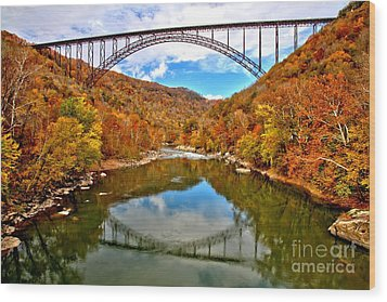 Flaming Fall Foliage At New River Gorge Wood Print by Adam Jewell
