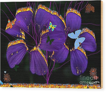 Flaming Flowers Wood Print by Bobby Hammerstone