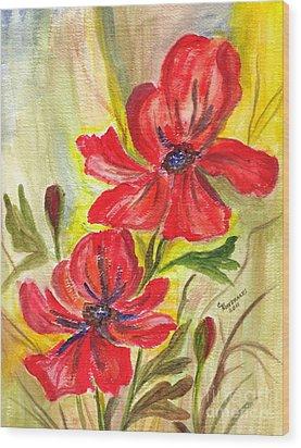 Flaming Garden Flowers Wood Print by Clementine Kondracki