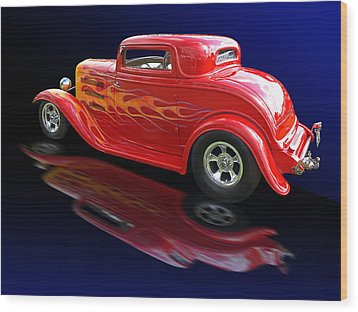 Flaming Roadster Wood Print by Gill Billington