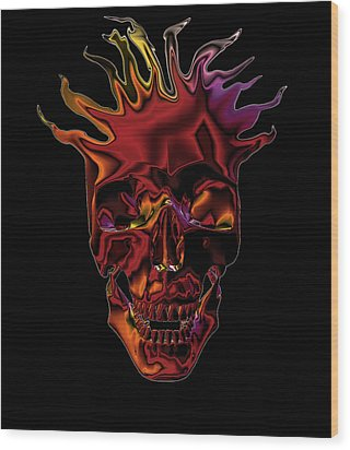 Flaming Skull Wood Print by Denise Beverly