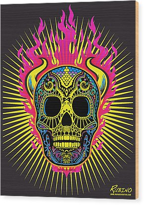 Flaming Skull Wood Print by Tony Rubino