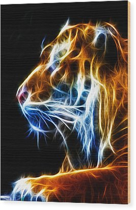 Flaming Tiger Wood Print by Shane Bechler