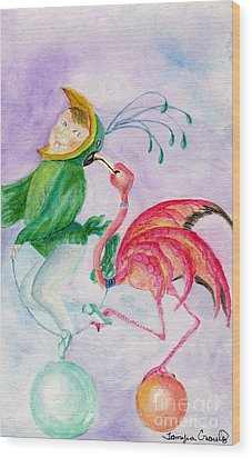 Wood Print featuring the painting Flamingo Circus by Tamyra Crossley