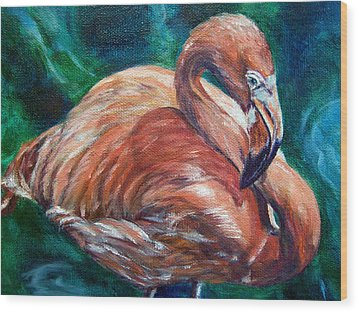 Flamingo Flare Wood Print