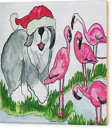 Flamingo Herder Wood Print