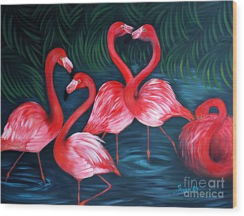 Flamingo Love. Inspirations Collection. Special Greeting Card Wood Print