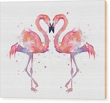 Flamingo Love Watercolor Wood Print by Olga Shvartsur