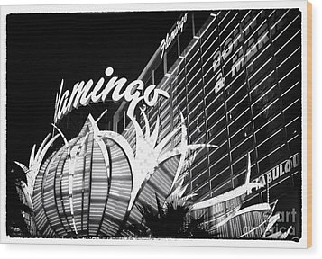 Flamingo Night View Wood Print by John Rizzuto