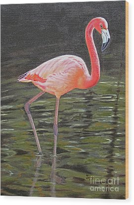 Wood Print featuring the painting Flamingo On Parade by Jimmie Bartlett