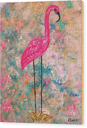 Flamingo On Pink And Blue Wood Print by Eloise Schneider