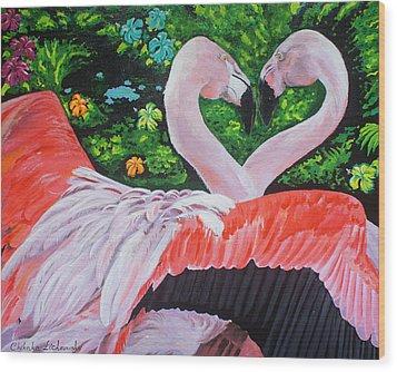 Flamingo Paradise Wood Print by Chikako Hashimoto Lichnowsky