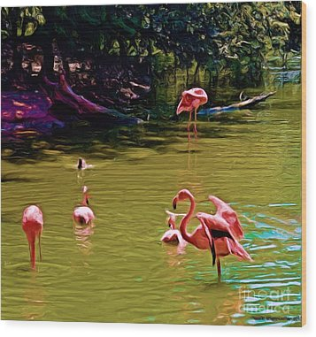 Flamingo Party Wood Print by Luther Fine Art