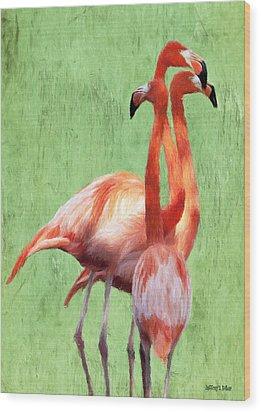 Flamingo Twist Wood Print by Jeffrey Kolker