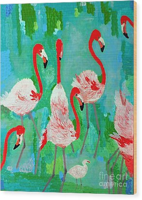 Flamingos 1 Wood Print